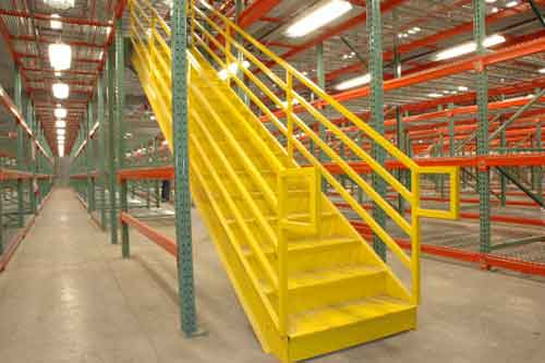 Industrial Stairs, Warehouse Storage Shelving and Boltless (RiveTier) Shelving Systems